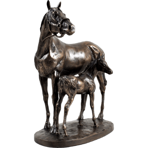 Mare and Foal Cold Cast Bronze Sculpture